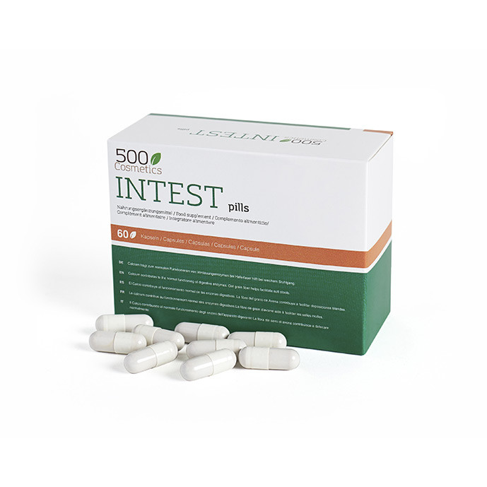 500Cosmetics Intest Pills -pillerit ehkäisevät peräpukamia ja helpottavat suolisto-ongelmia.